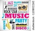 illustration of music word cloud with related object - stock vector