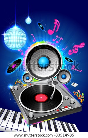 illustration of musical equipment on abstract background - stock vector