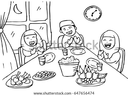 family eating coloring pages - photo#17