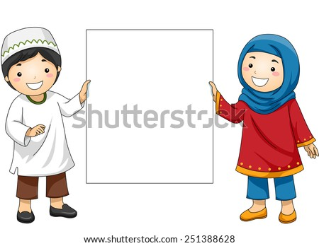 Illustration of Muslim Kids in Traditional Clothing Holding a Blank Board - stock vector