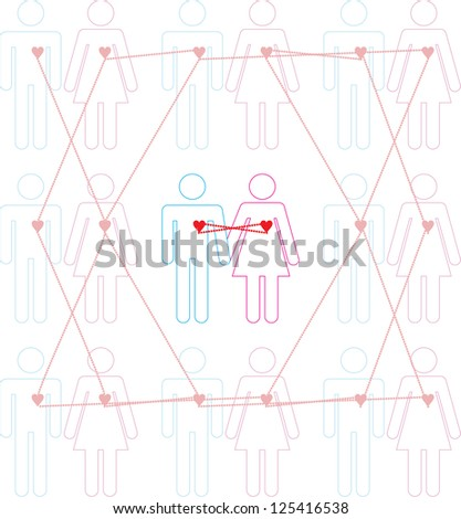 Illustration of mutual and unrequited love - stock vector