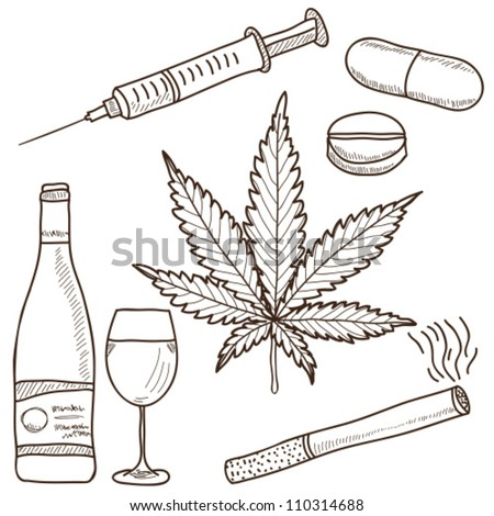 Illustration of narcotics - marijuana, alcohol, nicotine and other - stock vector
