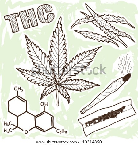 Illustration of narcotics - marijuana and other elements - stock vector