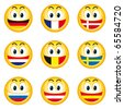 Illustration of nation smileys with a flag instead of teeth - stock vector