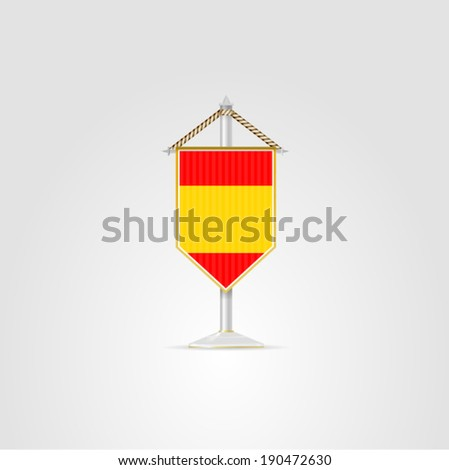 Illustration of national symbols of European countries. Spain. Pennon with the flag of Spain. Isolated vector illustration on white. - stock vector