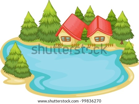 Illustration of nature cabins on white - stock vector