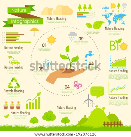 illustration of Nature infographics in flat style - stock vector