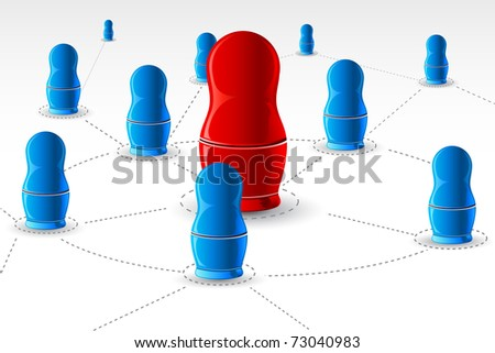 illustration of nesting doll connected with each other showing networking - stock vector