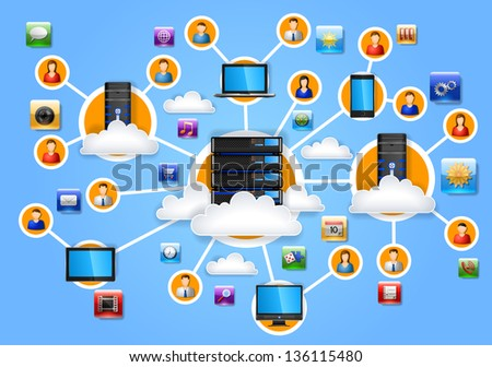 Illustration of network, EPS 10, contains transparency - stock vector