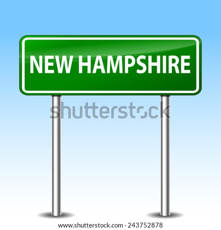 illustration of new hampshire green metal road sign - stock vector
