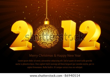 illustration of new year card with 2012 and hanging ball - stock vector