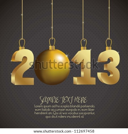 illustration of new year 2013, happy new year, vector illustration - stock vector