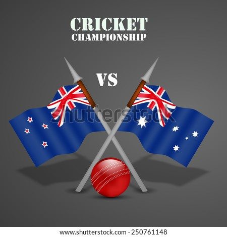 Illustration of New Zealand and Australia Flag for Cricket background - stock vector