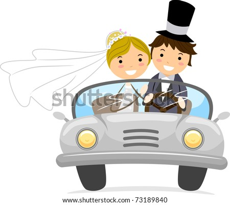 Illustration of Newlyweds in a Bridal Car - stock vector