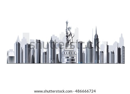 Illustration of Newyork city skyline. Highly detailed vector