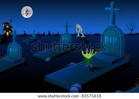 illustration of night scene of graveyard with mummy and flying witch - stock vector