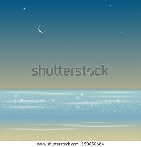 Illustration of night sea landscape - stock vector