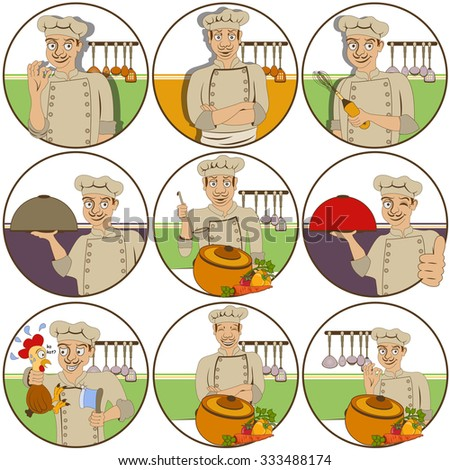 illustration of nine different chef funny stickers - face expressions. - stock vector