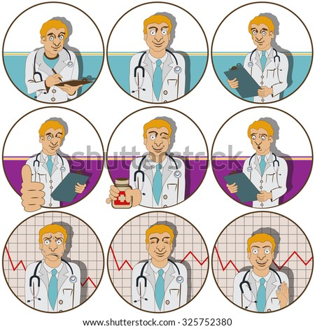illustration of nine different doctor funny stickers  - face expressions. - stock vector