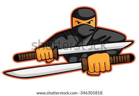 Illustration of ninja attacking with swords - stock vector