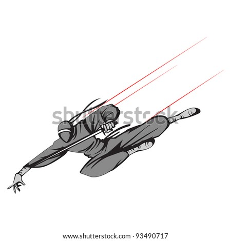 illustration of ninja fighter flying with sword - stock vector