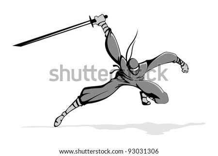 illustration of ninja fighter in action with sword - stock vector
