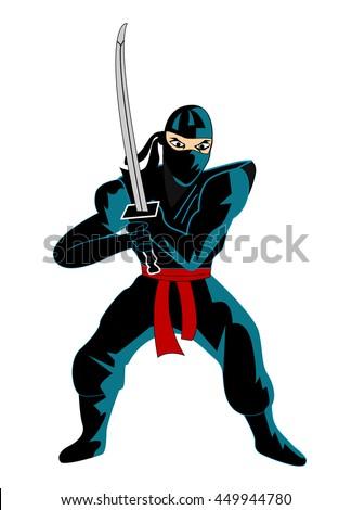Illustration of ninja over white background - stock vector
