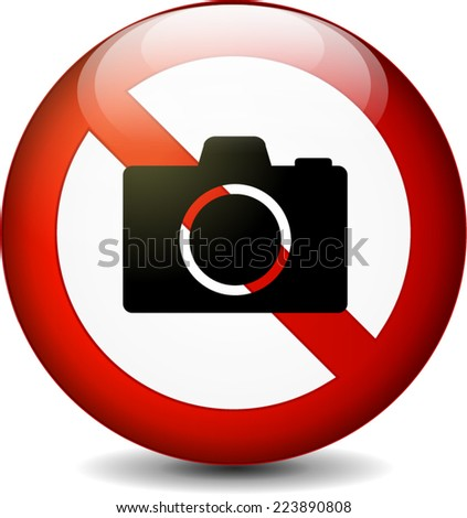 Illustration of no camera round sign on white background - stock vector