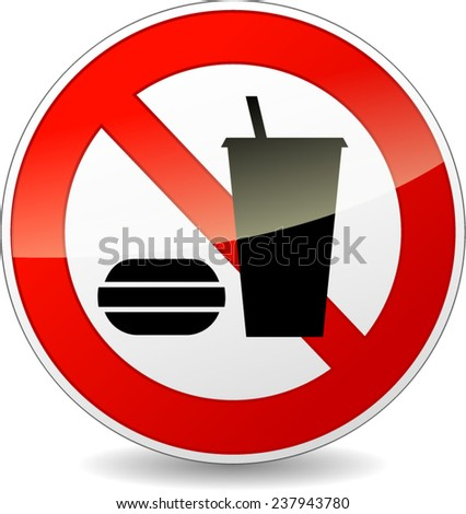 illustration of no eating sign isolated on white background