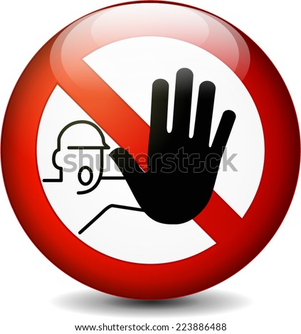 Illustration of no entry round sign on white background - stock vector