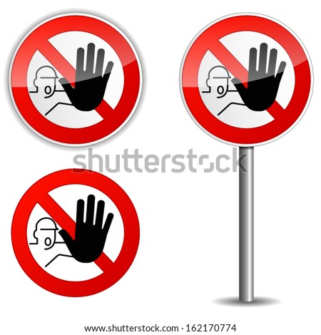 Illustration of no entry sign on white background - stock vector