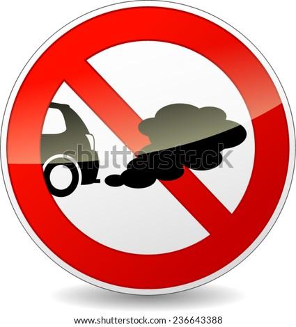 illustration of no smoking cars circle sign - stock vector