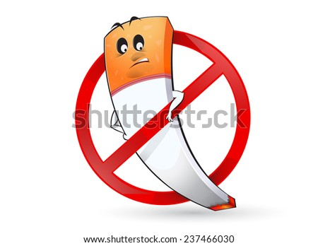 illustration of no smoking sign with funny character - stock vector