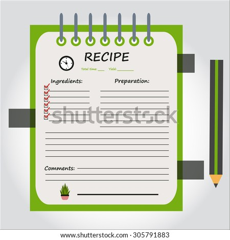 Illustration of notebook, copybook, book for recipes, web icon, vector.