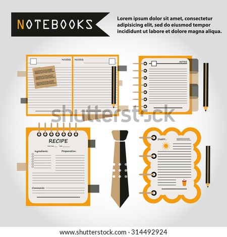 Illustration of notebooks set, copybooks, book for recipes, web icon, vector. Tie icon.