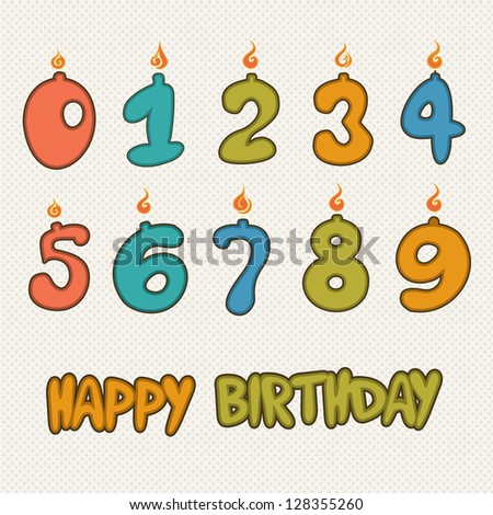Illustration of Number-Shaped Birthday Candles - stock vector
