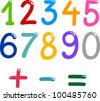 illustration of numbers from zero to nine and math symbols - stock vector