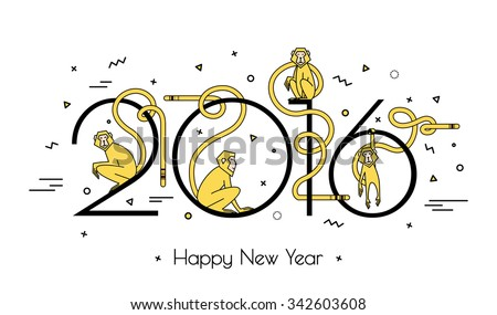 Illustration of numbers in 2016 and 4 monkeys in a linear style. Modern design, simple line. Fire monkeys geometry white background for the new year. - stock vector