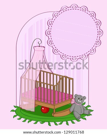 Illustration of nursery for a girl with a teddy bear and a ball