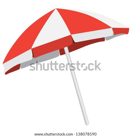 Illustration of  of colorful  beach umbrella. Vector isolated parasol - stock vector