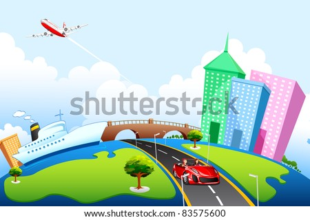 illustration of office building and road on globe - stock vector