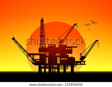 Illustration of oil platform on sea and sunset in background, vector - stock vector