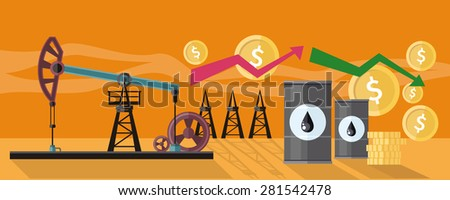 Illustration of oil production. Graphic changes in oil prices on the oil pump yellow field background. For web banners, promotional materials, presentation templates - stock vector