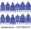 Illustration of old decorated village houses - background patten - stock vector