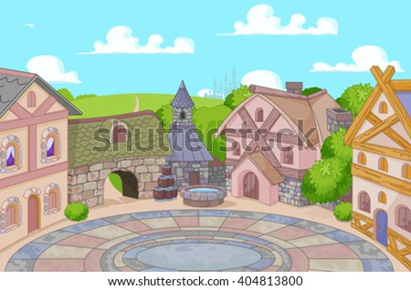 Illustration of old English style street