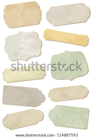 Illustration of old-fashion ornamental cards or tags with weathered and stained effect. All vector parts are isolated and grouped. Colors are easy to customize.