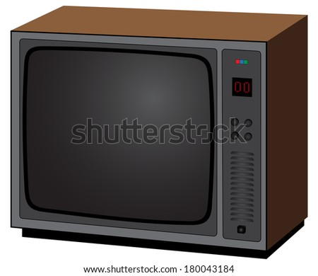 Illustration of old television on a white background
