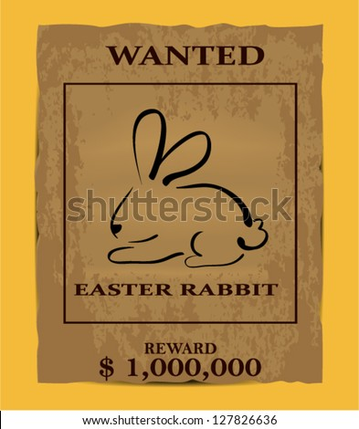Illustration Old Wanted Poster Easter Rabbit Stock Vector HD ...