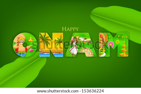 illustration of Onam background showing culture of Kerala - stock vector