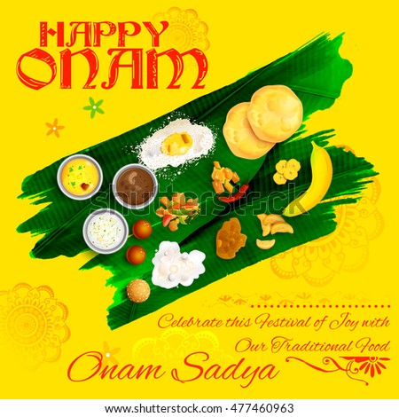 illustration of Onam Sadya feast on banana leaf